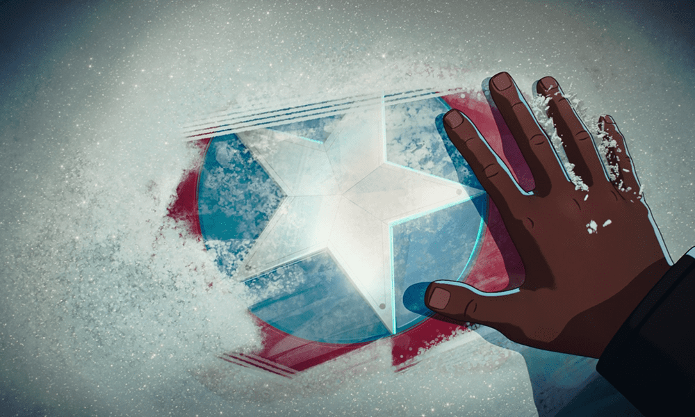 Nick Fury wipes away ice to reveal Captain America's shield