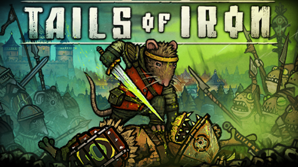 tails of iron rat holding sword at neck of frog