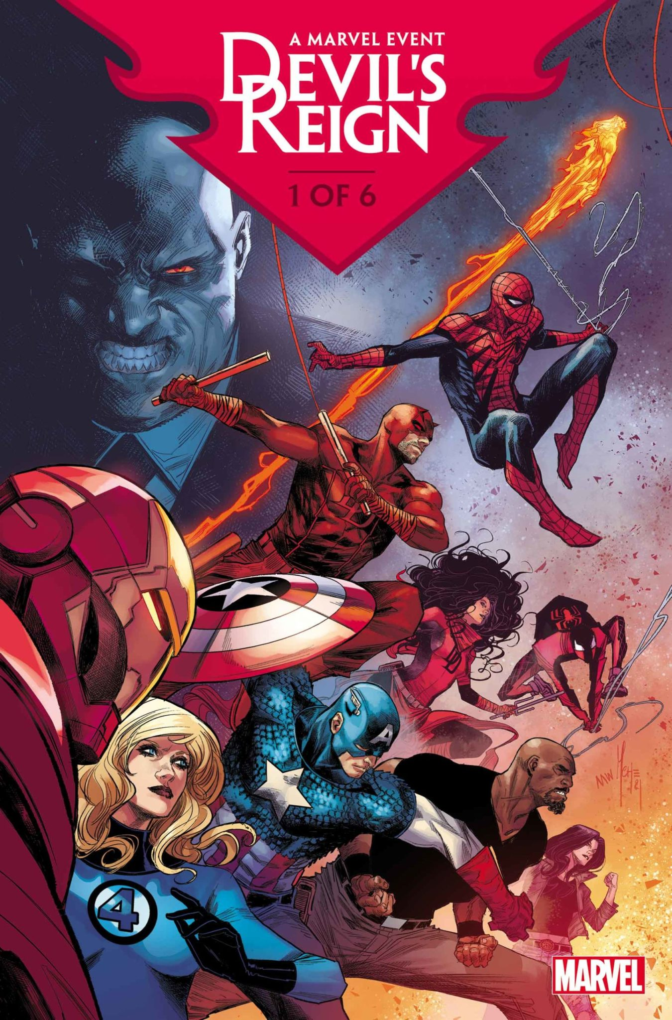 Devil's Reign cover showing Wilson Fisk in the background with heroes like Daredevil and Spider-Man in the foreground.