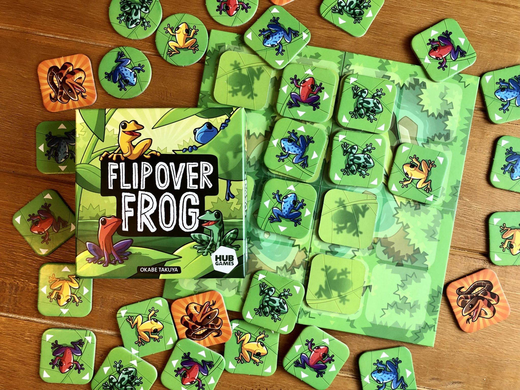 Flip Over Frog game with components