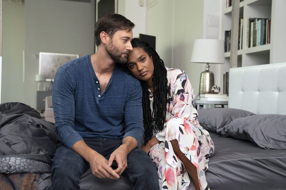 """NEW AMSTERDAM -- """"More Joy"""" Episode 401 -- Pictured: (l-r) Ryan Eggold as Dr. Max Goodwin, Freema Agyeman as Dr. Helen Sharpe -- (Photo by: Virginia Sherwood/NBC)"""