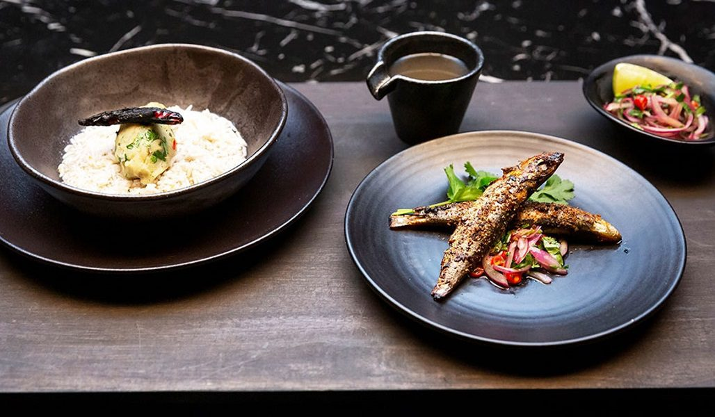 bowls of rice, potato mashed, sardines with salsa on bowls from MasterChef