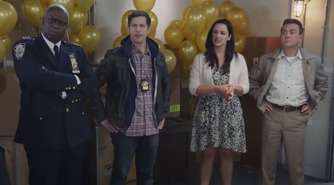 Holt, Jake, Amy, and Boyle from the Brooklyn Nine-Nine finale