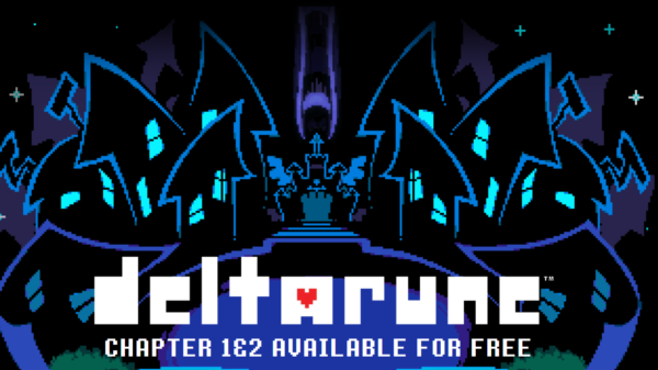 The Deltarune cover image; the cyber city with the Deltarune logo in white font.