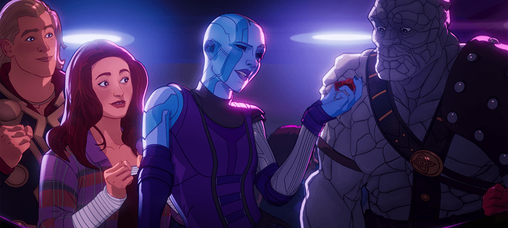 From left to right: Thor, Jane Foster, Nebula, and Korg in What If...? S01E07
