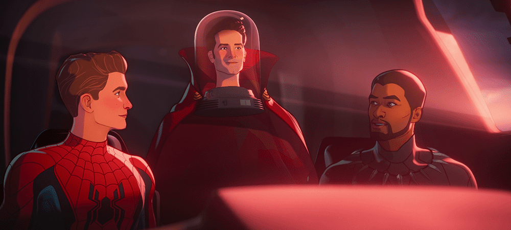 From left to right: Peter Parker, Scott Lang and the Cloak of Levitation, and T'Challa in What If...? S01E05